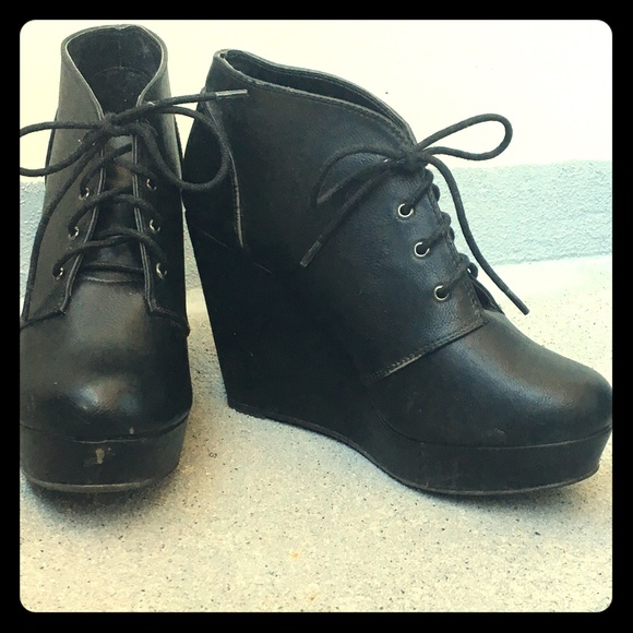 Faux leather black lace up ankle boots